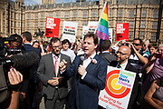 Dep PM Nick Clegg speak to the crowd outside. The bill 'Marriage Bill 2012-13 to 2013-14'<br /> (Same Sex Couples)  has just been passed in the House of Lords to great joy for supporters outside Parliament. The bill is to to make provision for the marriage of same sex couples in England and Wales, about gender change by married persons and civil partners, about consular functions in relation to marriage, for the marriage of armed forces personnel overseas, and for connected purposes.