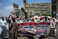 Pro-Morsi demonstrates chant and march in Cairo, one year after the leader of the Muslim Brotherhood came to power, in Cairo, Egypt