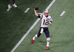 New England Patriots quarterback Tom Brady before playing the Los Angeles Rams in Super Bowl LIII at Mercedes-Benz Stadium in Atlanta on Sunday, February 3, 2019. Photo by John Spink/Atlanta Journal-Constitution/TNS/ABACAPRESS.COM