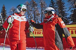 14.02.2021, Cortina, ITA, FIS Weltmeisterschaften Ski Alpin, Abfahrt, Herren, Besichtigung, im Bild Otmar Striedinger (AUT), Andreas Puelacher (Sportlicher Leiter ÖSV Ski Alpin Herren) // Otmar Striedinger of Austria Alpine Mens Headcoach Andreas Puelacher of Austria during course inspection for the mens Downhill Race of FIS Alpine Ski World Championships 2021 in Cortina, Italy on 2021/02/14. EXPA Pictures © 2021, PhotoCredit: EXPA/ Johann Groder