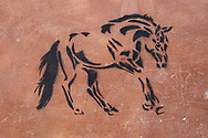 Siena - wall graffiti relating to the palio horse races held annually in the main plaza