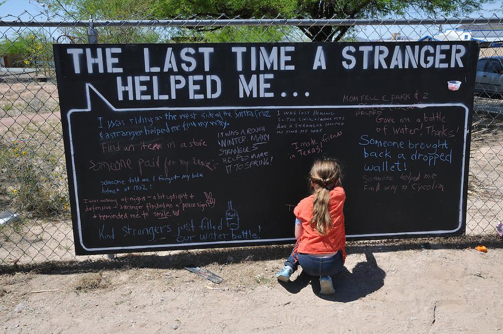 Public chalkboard at Cyclovia Tucson 2013. Bike-tography by Martha Retallick.