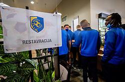 Players entering the restaurant in a hotel during training camp of NK Bravo before spring season of Prva liga Telekom Slovenije 2020/21, on January 20, 2021 in Terme Zrece, Slovenia.  Photo by Vid Ponikvar / Sportida