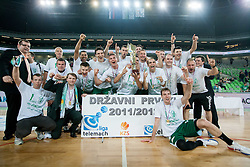 Players of Krka celebrate after the basketball match between KK Union Olimpija and KK Krka in 4th Final match of Telemach Slovenian Champion League 2011/12, on May 24, 2012 in Arena Stozice, Ljubljana, Slovenia.  Krka defeated Union Olimpija third time and became Slovenian National Champion 2011/12. (Photo by Vid Ponikvar / Sportida.com)