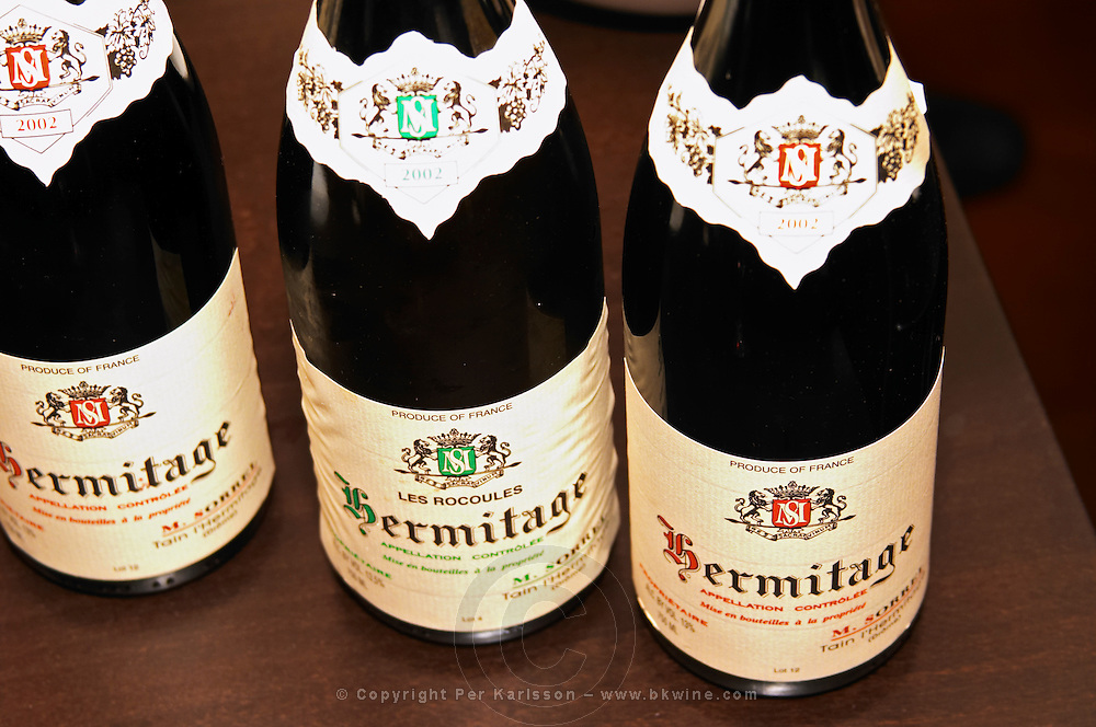 Bottles of Marc Sorrel Hermitage 2002 red, Hermitage Les Rocoules 2002.  Tain l'Hermitage, Drome, Drôme, France, Europe