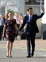 Ed Miliband Keynote Speech. <br /> Labour leader Ed Miliband and his wife Justine Thornton arriving to the Brighton Conference centre before delivering his Keynote speech to the Labour Party Conference delegates at the Brighton Conference Centre, Brighton, United Kingdom. Tuesday, 24th September 2013. Picture by Andrew Parsons / i-Images