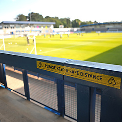 "TELFORD COPYRIGHT MIKE SHERIDAN A sign reads ""Please keep a safe distance"", part of social distancing Covid19 pandemic measures at the New Bucks Head Stadium during the pre-season friendly between AFC Telford United and Notts County at the New Bucks Head on Saturday, September 19, 2020.<br /> <br /> Picture credit: Mike Sheridan/Ultrapress<br /> <br /> MS202021-026"