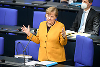 24 MAR 2021, BERLIN/GERMANY:<br /> Angela Merkel, CDU, Bundeskanzlerin, waehrend der Regierungsbefragung durch den Bundestag zur Bekaempfung der Corvid-19 Pandemie, Plenarsaal, Reichstagsgebaeude, Deutscher Bundestag<br /> IMAGE: 20210324-01-035<br /> KEYWORDS: Corona