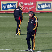Galatasaray's coach Gheorghe HAGI (R) and co trainer Tugay KERIMOGLU (L) during their training session at the Jupp Derwall training center, Thursday, January 13, 2010. Photo by TURKPIX