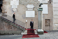 ROME, ITALY - 20 JULY 2014: Mayor of Rome Ignazio Marino goes down the stairs of the Campidoglio (the municipal government) to receive mayor of New York Bill De Blasio and his family, in Rome, Italy, on July 20th 2014.<br /> <br /> New York City Mayor Bill de Blasio arrived in Italy with his family Sunday morning for an 8-day summer vacation that includes meetings with government officials and sightseeing in his ancestral homeland.