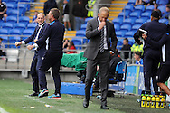 Reading manager Yaap Stam (far left) celebrates after Yann Kermorgant (not in shot) scores Reading's late goal. EFL Skybet championship match, Cardiff city v Reading at the Cardiff city stadium in Cardiff, South Wales on Saturday 27th August 2016.<br /> pic by Carl Robertson, Andrew Orchard sports photography.