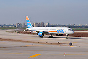 Israel, Ben-Gurion international Airport Arkia Boeing 757-300 passenger jet ready for takeoff