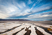 Morning clouds over frest water springs along the edge of the Badwater Salt Flat in Death Valley National Park, California