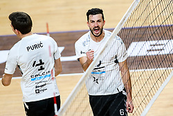 Mitja Gasparini of Calcit Kamnik celebrates during volleyball match between ACH Volley Ljubljana and Calcit Kamnik in Mevza League 2020/21, on October 17, 2020 in Hala Tivoli, Ljubljana, Slovenia. Photo by Matic Klansek Velej / Sportida