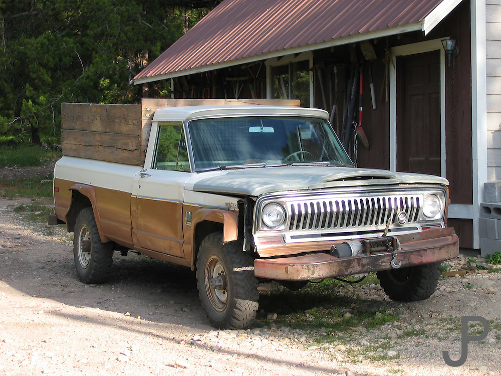 Jeep pickup truck at Sulphur Creek Ranch in central Idaho. The ranch was cut off from all roads in about 1975 so this vehicle has no way out and must be repaired on-site with parts flown in or brought in on horseback.