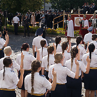 Freshly graduated officers of the National University of Public Service take their oath of office in the Castle of Buda in Budapest, Hungary on June 27, 2020. ATTILA VOLGYI