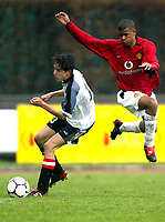 ◊Copyright:<br />GEPA pictures<br />◊Photographer:<br />Dominic Ebenbichler<br />◊Name:<br />Thuerauer<br />◊Rubric:<br />Sport<br />◊Type:<br />Fussball<br />◊Event:<br />Europa Jugendcup 2004, internationaler U-17 Jugendcup, Nationalteam Oesterreich vs Manchester United<br />◊Site:<br />Bludenz, Austria<br />◊Date:<br />10/04/04<br />◊Description:<br />Lukas Thuerauer (AUT), Campbel Frazier (Manchester)<br />◊Archive:<br />DCSDE-100404707<br />◊RegDate:<br />10.04.2004<br />◊Note:<br />8 MB - KA/KA