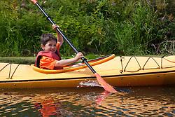 North America, United States, Washington, Bellevue, son (age 6) kayaking in Mercer Slough Nature Park.  MR