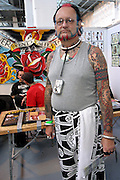 One of the visitors at the 2nd International Tattoo Convention in London on Saturday, Oct. 7, 2006, in London, UK. With over 15.000 visitors in three days during the 2005 edition, the event placed London in a central position in the tattoo world.  This year about 150 artists ,representing all the tattoo styles, are ticking away with their machines in a very exciting atmosphere. **ITALY OUT**....