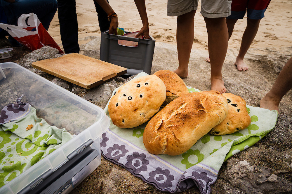 Picnic on the beach of San Martino Island, part of the Cies Islands of Spain.