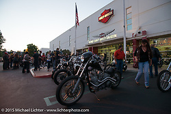 Pre-party for Born Free 6 bike show at Orange County Harley-Davidson. USA. June 26, 2014.  Photography ©2014 Michael Lichter.