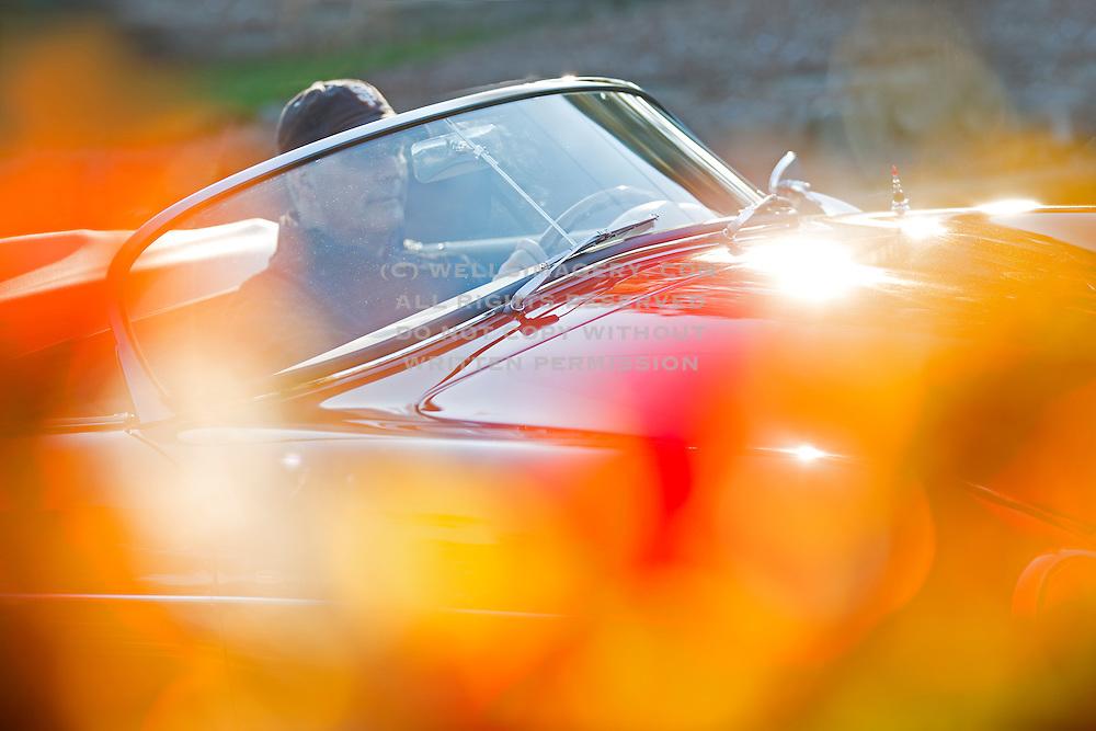 Image of an orange 1958 Porsche Speedster in the fall in Bellevue, Washington, Pacific Northwest