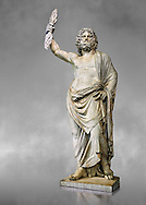 Statue of a male divinity known as Jupiter de Smyrne, a 2nd Roman statue from Smyrne, Izmir present day Turkey. The Royal Collection Inv No. MR 255 or Ma 13, Louvre Museum, Paris. .<br /> <br /> If you prefer to buy from our ALAMY STOCK LIBRARY page at https://www.alamy.com/portfolio/paul-williams-funkystock/greco-roman-sculptures.html- Type -    Louvre    - into LOWER SEARCH WITHIN GALLERY box - Refine search by adding a subject, place, background colour,etc.<br /> <br /> Visit our CLASSICAL WORLD HISTORIC SITES PHOTO COLLECTIONS for more photos to download or buy as wall art prints https://funkystock.photoshelter.com/gallery-collection/The-Romans-Art-Artefacts-Antiquities-Historic-Sites-Pictures-Images/C0000r2uLJJo9_s0c