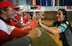 Fans of Krim and Tanja Oder of Krim at handball game ZRK Celje Celjske Mesnine vs RK Krim Mercator in final match of Slovenian Handball Cup,  on April 6, 2008 in Arena Golovec, Celje, Slovenia. Krim won the game 31:21 and became Cup Winner.  (Photo by Vid Ponikvar / Sportal Images)