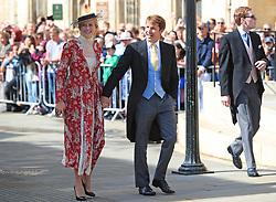 James Blunt and his wife Sofia Wellesley arriving at York Minster for the wedding of singer Ellie Goulding to Caspar Jopling.