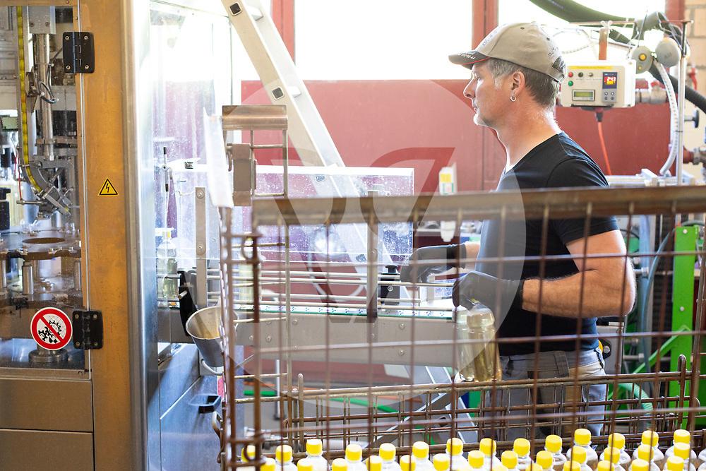 SCHWEIZ - RÖMERSWIL - Adrian Muff, Landwirt, arbeitet an der Abfüllanlage in seiner Mosterei, hier wird Apfelschorle abgefüllt. - 25. April 2019 © Raphael Hünerfauth - https://www.huenerfauth.ch