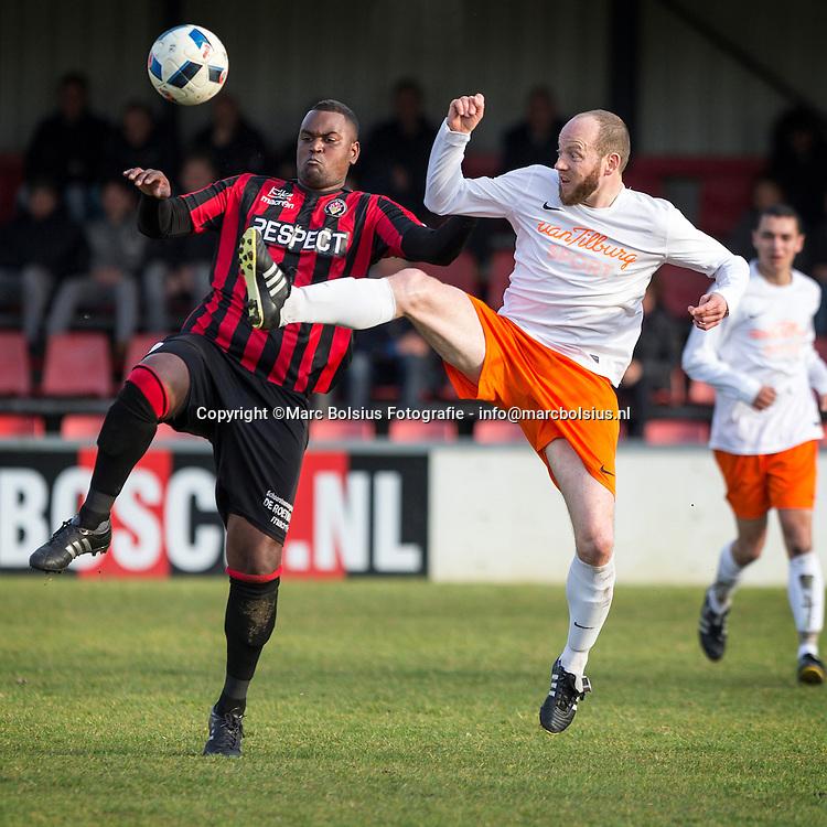 Nederland,  Den Bosch, voetbalwedstrijd tussen Bvv en Irene in de 2de klasse. Jay Gibbes in duel met Teun van Schadewijk
