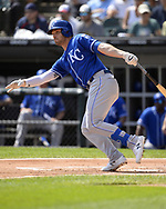 CHICAGO - SEPTEMBER 12:  Ryan McBroom #9 of the Kansas City Royals bats against the Chicago White Sox on September 12, 2019 at Guaranteed Rate Field in Chicago, Illinois.  (Photo by Ron Vesely)  Subject:   Ryan McBroom