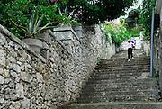 Child running up outdoor steps beside stone wall. Korcula town, island of Korcula, Croatia