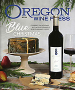 A styled cover photograph of the internationally  award winning Rogue Creamery Blue Cheese paired with Ledger David Syrah for Oregon Wine Press Magazine