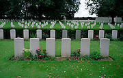 Cambrai East Cemetery,France..The British war dead are surrounded by German war dead. The Germans buried the British while they occupied the land here at Cambrai until the British advance in late 1918..A cemetery from the final 100 days of the First World War. August to November 1918.
