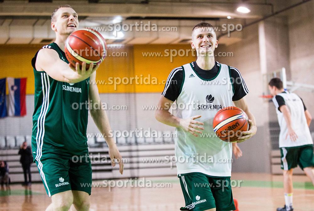 Jaka Blazic and Luka Rupnik during practice session of Slovenian National basketball team before FIBA Basketball World Cup China 2019 Qualifications against Belarus, on November 20, 2017 in Arena Stozice, Ljubljana, Slovenia. Photo by Vid Ponikvar / Sportida