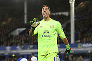 Everton Goalkeeper Joel Robles looks on. Barclays Premier League match, Everton v Newcastle United at Goodison Park in Liverpool on Wednesday 3rd February 2016.<br /> pic by Chris Stading, Andrew Orchard sports photography.