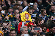 a Wales fan singing the national anthem .Rugby World Cup 2015 quarter final match, South Africa v Wales at Twickenham Stadium in London, England  on Saturday 17th October 2015.<br /> pic by  John Patrick Fletcher, Andrew Orchard sports photography.