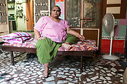 Asha, a Hijra guru at her Gharana (house) in the Old City, Vadodara, Gujarat, India. Hijras or transgender people make up a very large group in Indian society and are now recognised in law as a third sex. Historically, they were trusted court attendants, performers and singers. Hijras have a long recorded history in the Indian subcontinent from antiquity onwards and retain a separate often secret culture. (photo by Stuart Freedman/In Pictures via Getty Images)