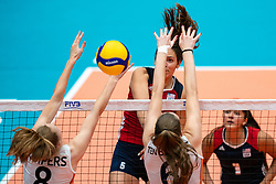 Allison Jacobs of USA, Jette Kuipers of Netherlands, Marije ten Brinke of Netherlands in action during United States - Netherlands, FIVB U20 Women's World Championship on July 15, 2021 in Rotterdam