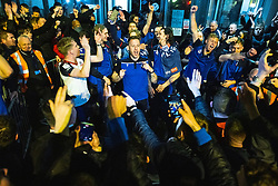 © Licensed to London News Pictures. 09/05/2021. Bolton, UK. The team celebrates outside the club's hotel . Bolton Wonderers supporters celebrate outside the team hotel at the University of Bolton stadium after BWFC won promotion to League One following the team's 1-4 victory over Crawley Town . Photo credit: Joel Goodman/LNP