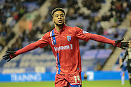 Samuel (Gillingham) celebrates his goal during the Sky Bet League 1 match between Wigan Athletic and Gillingham at the DW Stadium, Wigan, England on 7 January 2016. Photo by Mark P Doherty.