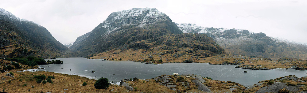 A panoramic view of the frozen Serpent Lake as it winds its way through The Gap of Dunloe, Killarney at the weekend.<br /> Picture by Don MacMonagle