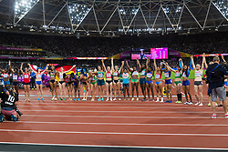 London, 2017 August 06. The women heptathletes take a bow at the end of their competition on day three of the IAAF London 2017 world Championships at the London Stadium. © Paul Davey.