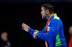 The Slovenian handball Coach Uros Mohorioc in action against Netherlands during the European Championship qualifying match on January 6, 2020 in Topsportcentrum Almere
