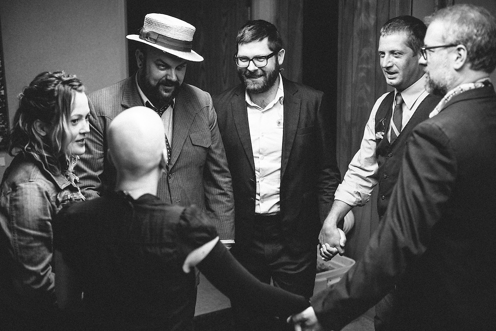 The Decemberists backstage at Edgefield in Troutdale, OR in Aug 2011.