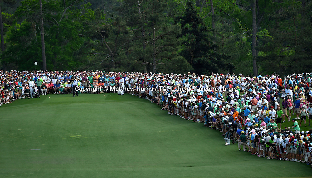 Bubba WATSON (USA) drives at the 8th par 5 during fourth round US Masters 2014,Augusta National,Augusta, Georgia,USA.