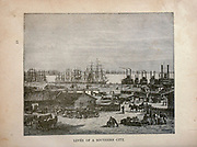Levee of a Southern City from The merchant vessel : a sailor boy's voyages to see the world [around the world] by Nordhoff, Charles, 1830-1901 engraved by C. LaPlante; some illustrations by W.L. Wyllie Publisher New York : Dodd, Mead & Co. 1884