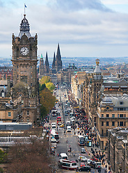 Daytime view along Princes Street in Edinburgh the major shopping street in the city, Scotland, UK.