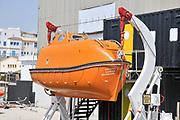 Evacuation lifeboat, lLimassol Marina and port, Cyprus